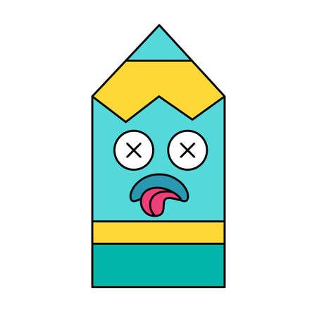 Sick pencil sticker cartoon illustration. Social media outline emoticon. Dead, depressed emoji Stock Illustratie