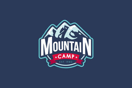Mountain camp vector template. Rocks illustration with typography. Mountaineering retro badge