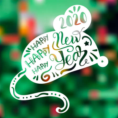 Festive greeting card vector illustration. Happy new 2020 year lettering on mouse silhouette