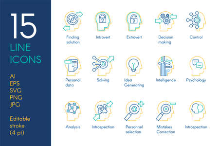 Mental activity color linear icons set. Analytical thinking blue and yellow thin line pictograms