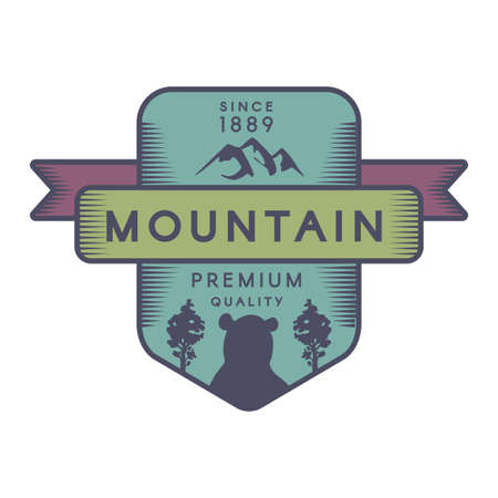 Mountain vector logo template. Recreational park symbol. Wild animal, grizzly bear silhouette