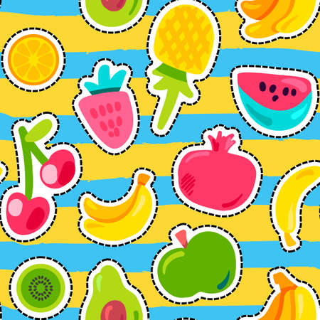 Summer fruits vector seamless pattern. Tropical fruits, sweet berries on bright zig zag background