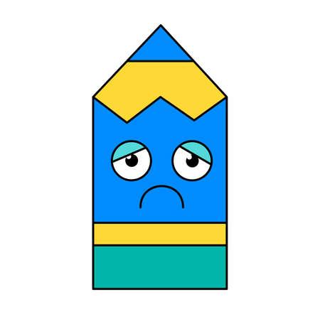 Depressed pencil sticker cartoon illustration. Melancholy, gloomy emoticon. Social media emoji