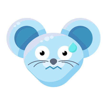 Emoji Cute Perspirable Animal Mouse Expression. Colorful Animal Nervous Face with Scared Eyes. Hard Work Smile Emotion.