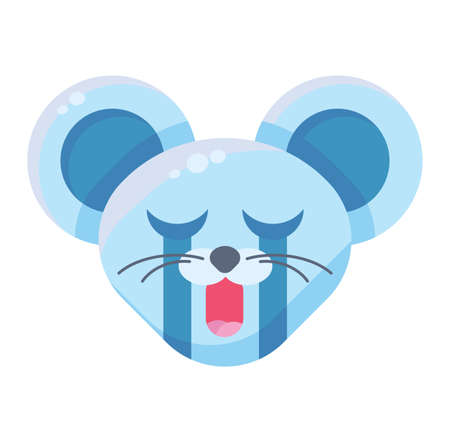 Emoji Cute Funny Animal Mouse Crying Expression. Art Colorful Animal Face with Closed Eyes and Open Mouth. Çizim