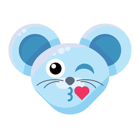 Emoji Animal Mouse Kiss with Heart Expression. Colorful Animal Face Wiking and Buss Liplock. Çizim