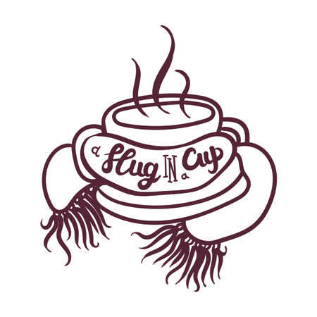 Hand Drawn Mug with Hot Beverage Braided Scarf Banner. Calligraphy Text Slug in Cup and Morning Drink with Steam.