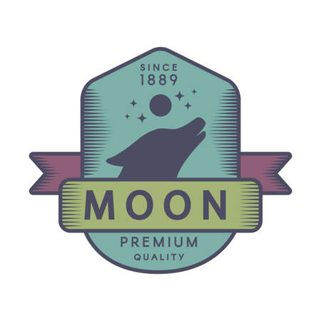 Moon color retro logo template. Forest wildlife vector vintage symbol. Howling wolf head silhouette