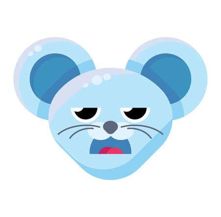 Emoji Cute Funny Animal Mouse Boring Expression. Colorful Animal Face with Open Mouth and Half-close Eyes. Disdain, Duh, Huh and Tired Emotion. Illustration