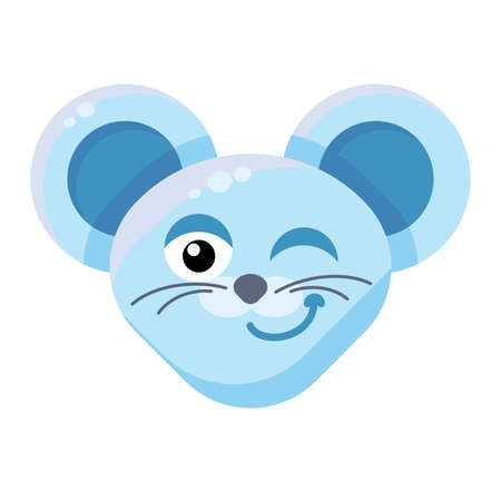 Emoji Cute Funny Animal Mouse Winking Expression. Colorful Animal Smiling and Eyewinking Face.