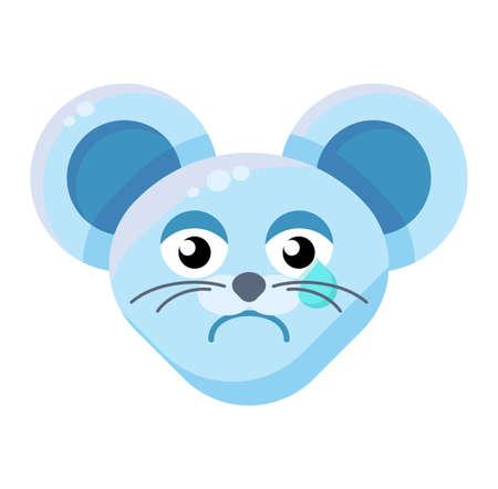 Mouse face crying emoticon. Sad animal emoji, teary rat. Negative emotion social media sticker Illustration