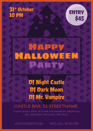 Halloween party promotion poster vector template. Autumn event invitation with haunted house design Иллюстрация