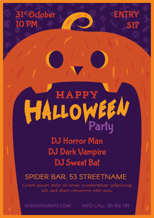 Halloween night horror party poster template. October event invitation with pumpkin vector design