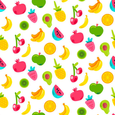 Bright Summer Juicy Fruit Painted Seamless Pattern. Fun Kid Style Repeat Background. Tropical Print with White Backdrop. Ilustração