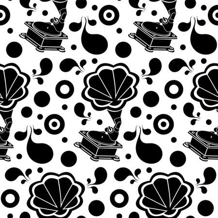 Gramophone retro silhouette seamless pattern. Black glyph old vinyl disc player on white background