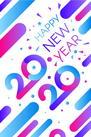 2020 Happy New Year Decorated Confetti Banner