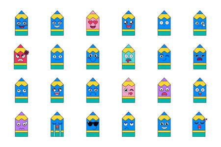 Pencil feelings emoticon set Ilustração