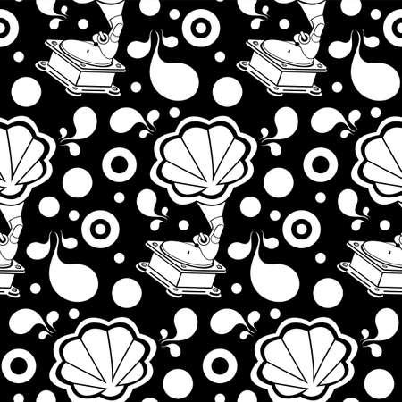 Gramophone retro silhouette seamless pattern