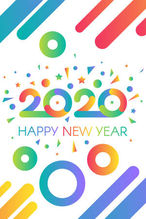 2020 Happy New Year Colorful Congratulation Banner. Multicolored Numbers Two Thousand Twenty with Wishes Decorated Confetti. Christmas Vertical Poster on Festival Vector Flat Cartoon Illustration