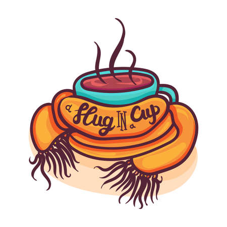Cup wrapped in scarf cartoon vector illustration. Coffee shop hand drawn banner, logotype concept