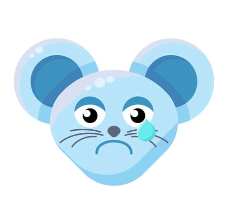 Mouse face crying emoticon. Sad animal emoji, teary rat. Negative emotion social media sticker  イラスト・ベクター素材