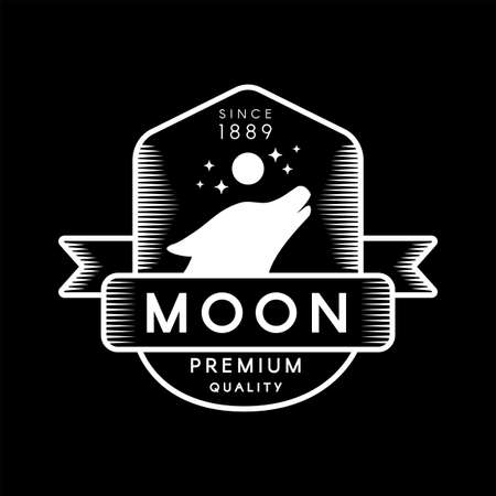 Howling on Moon Head Wild Wolf Silhouette Logo. Trademark Premium Quality on Black Background. Ribbon, Animal Coyote, Stars Night Sky Depicted on Logotype Template Vector Flat Illustration