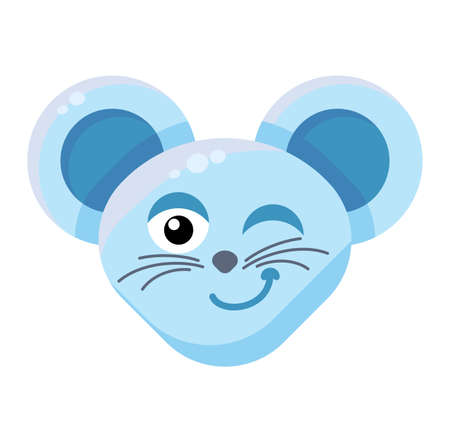 Emoji Cute Funny Animal Mouse Winking Expression. Colorful Animal Smiling and Eyewinking Face. Comic Wink Smile Emotion. Eyewink Suspicious Emoticon Vector Flat Cartoon Illustration