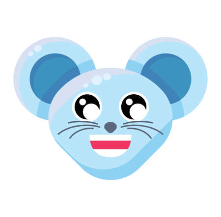 Emoji Cute Funny Animal Mouse Happy Expression. Colorful Animal Smiling Blissful and Joyful Face. Comic Lucky and Glad Smile Emotion. Happiness Emoticon Vector Flat Cartoon Illustration
