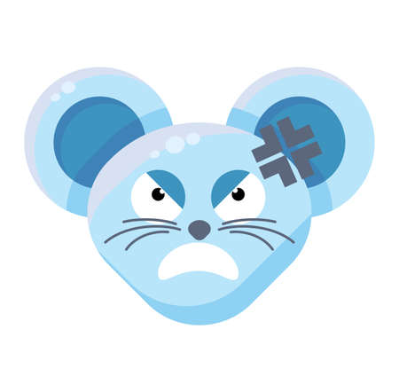 Mouse face angry emoticon sticker Иллюстрация