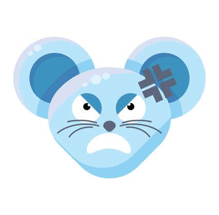 Mouse face angry emoticon sticker Ilustração