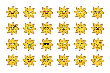 Cute sun stickers outline illustrations set. Various cartoon emoticons. Social media emoji pack  イラスト・ベクター素材
