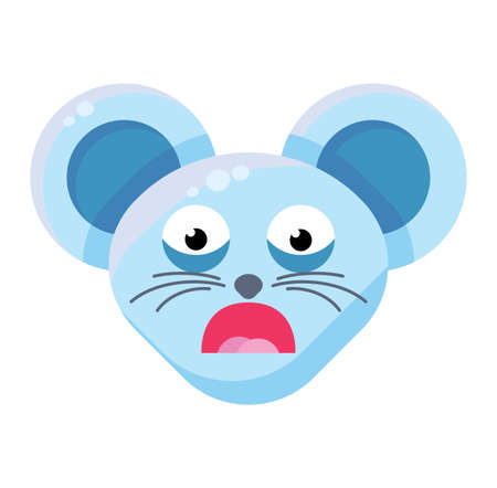 Emoji Cute Funny Animal Mouse Afraid Expression. Colorful Animal Frustrated and Nervous Face with Open Mouth and Scared Eyes. Embarrassed Smile Emotion. Ooops Emoticon Vector Flat Cartoon Illustration  イラスト・ベクター素材