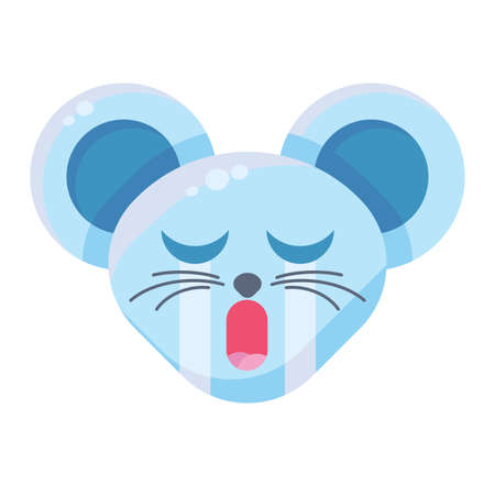 Emoji Cute Funny Animal Mouse Crying Expression. Art Colorful Animal Face with Closed Eyes and Open Mouth. Depressed and Offended Smile Emotion. Plangorous Emoticon Vector Flat Cartoon Illustration