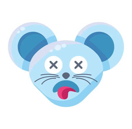 Mouse face dead emoticon sticker. Deceased animal emoji with sticking tongue, rat with crossed eyes Ilustração