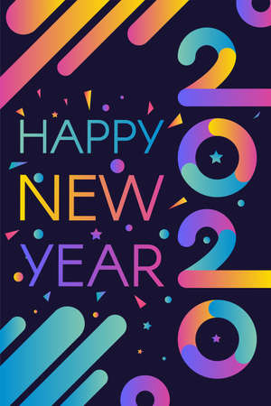 2020 Happy New Year Colorful Invitation Banner. Modern Numbers Two Thousand Twenty with Greeting Words. Trendy Congratulation Vertical Poster on Festive Party Vector Flat Cartoon Illustration Иллюстрация