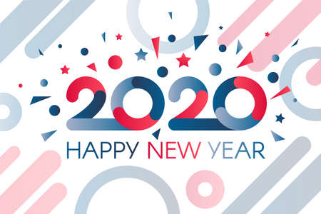 Colorful 2020 Happy New Year with Fireworks Banner. Luxury Two Thousand Twenty with Wishes. Horizontal Bright Light Invitation Card on Celebration Party Vector Flat Cartoon Illustration
