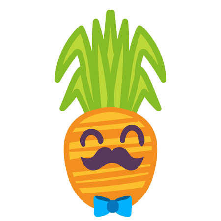 Cute hipster pineapple hand drawn vector illustration. Fruit with mustache and bow tie cool sticker