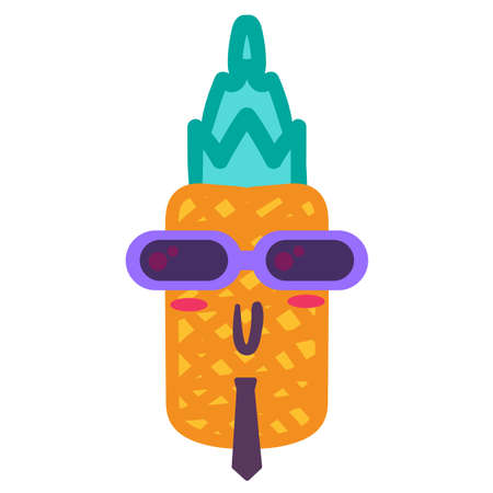 Punk pineapple cartoon vector emoji. Comic tropical fruit with mohawk and glasses isolated sticker