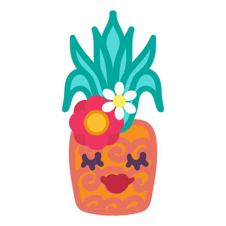 Stylish pineapple with female face hand drawn vector illustration. Cute tropical fruit emoji sticker Ilustração