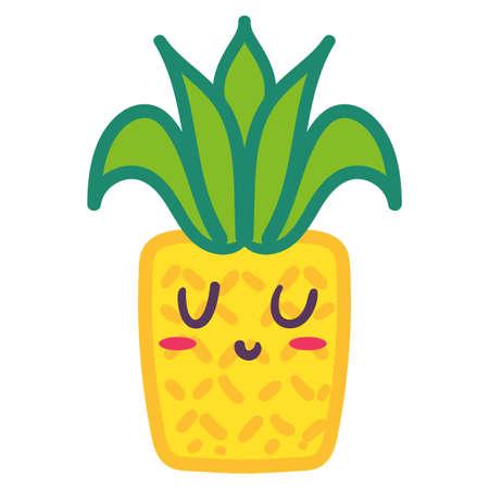 Cute yellow pineapple emoji cartoon illustration. Tropical ananas fruit emoticon isolated sticker