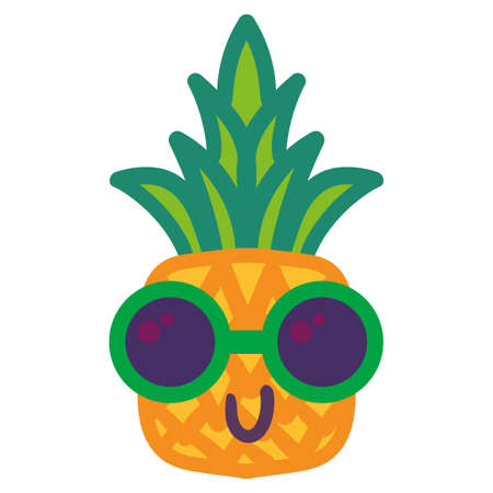 Stylish ananas in sunglasses hand drawn illustration. Cool tropical fruit isolated vector sticker