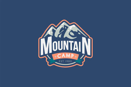 Mountain camp vector logo template. Rocks illustration with typography. Mountaineering retro badge  イラスト・ベクター素材