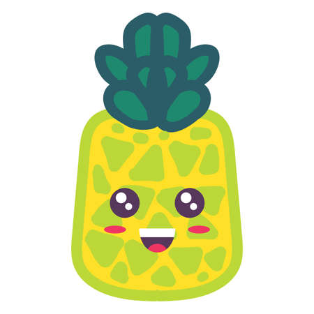 Cute pineapple kawaii emoji cartoon illustration. Smiling tropical fruit sticker isolated on white Ilustração