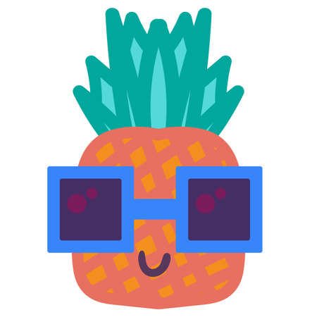 Cool pineapple emoji hand drawn vector illustration. Tropical fruit in fashion sunglasses sticker Ilustração