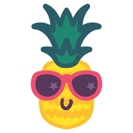 Stylish pineapple emoji hand drawn vector illustration. Smiling tropical fruit in sunglasses sticker