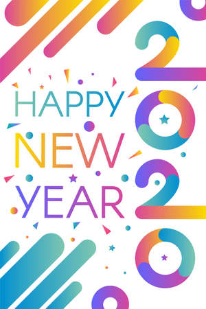 2020 Happy New Year Decorated Confetti Banner. Multicolored Numbers Two Thousand Twenty, Seasonal Greeting Card, Calendar, Brochure Template. Vertical Poster Vector Flat Cartoon Illustration