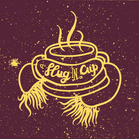 Slug in cup social media banner template. Mug wrapped in scarf hand drawn outline illustration