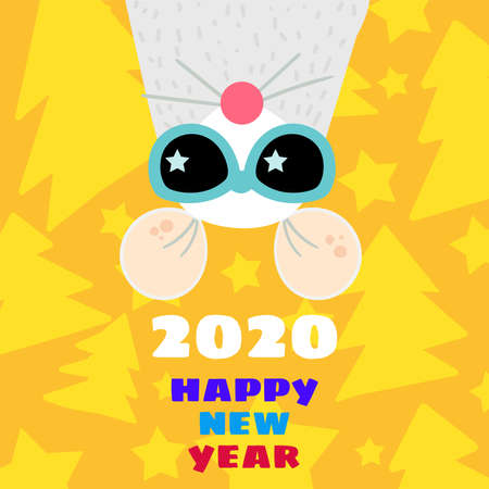 Funny mouse 2020 greeting card flat template. Xmas rat in sunglasses postcard. New Year symbol