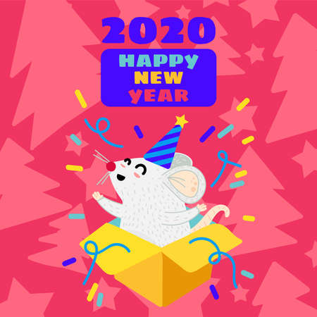 Funny mouse flat greeting card template. Xmas rat in gift box postcard. Year 2020 symbol 일러스트