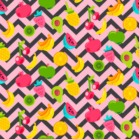 Painted Berries Summer Fruits Mix Seamless Pattern. Bright Pineapple, Orange on Zigzag Backdrop. Cherries Kiwi and Pomegranate with Black Dotted Line. Kid Print. Cartoon Flat Vector Illustration Illusztráció